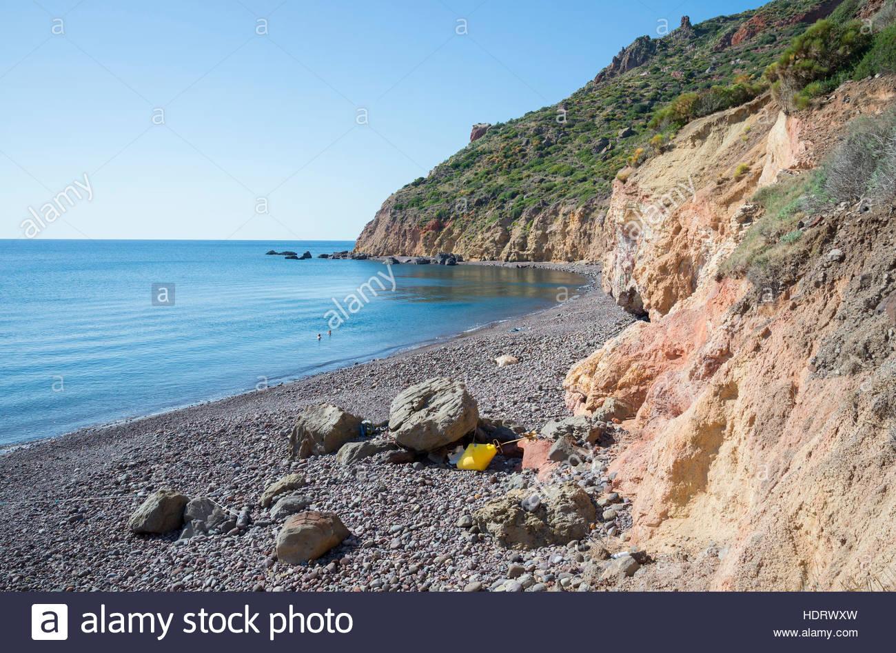 Valle Muria beach, Lipari, Isole Eolie, Sito Patrimonio Mondiale dell'UNESCO, Sicilia, Italia, Mediterraneo, Immagini Stock