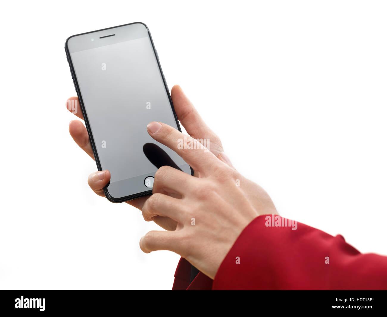 Donna Mano Azienda Apple Iphone 7 Plus E Toccando Lo Schermo Vuoto