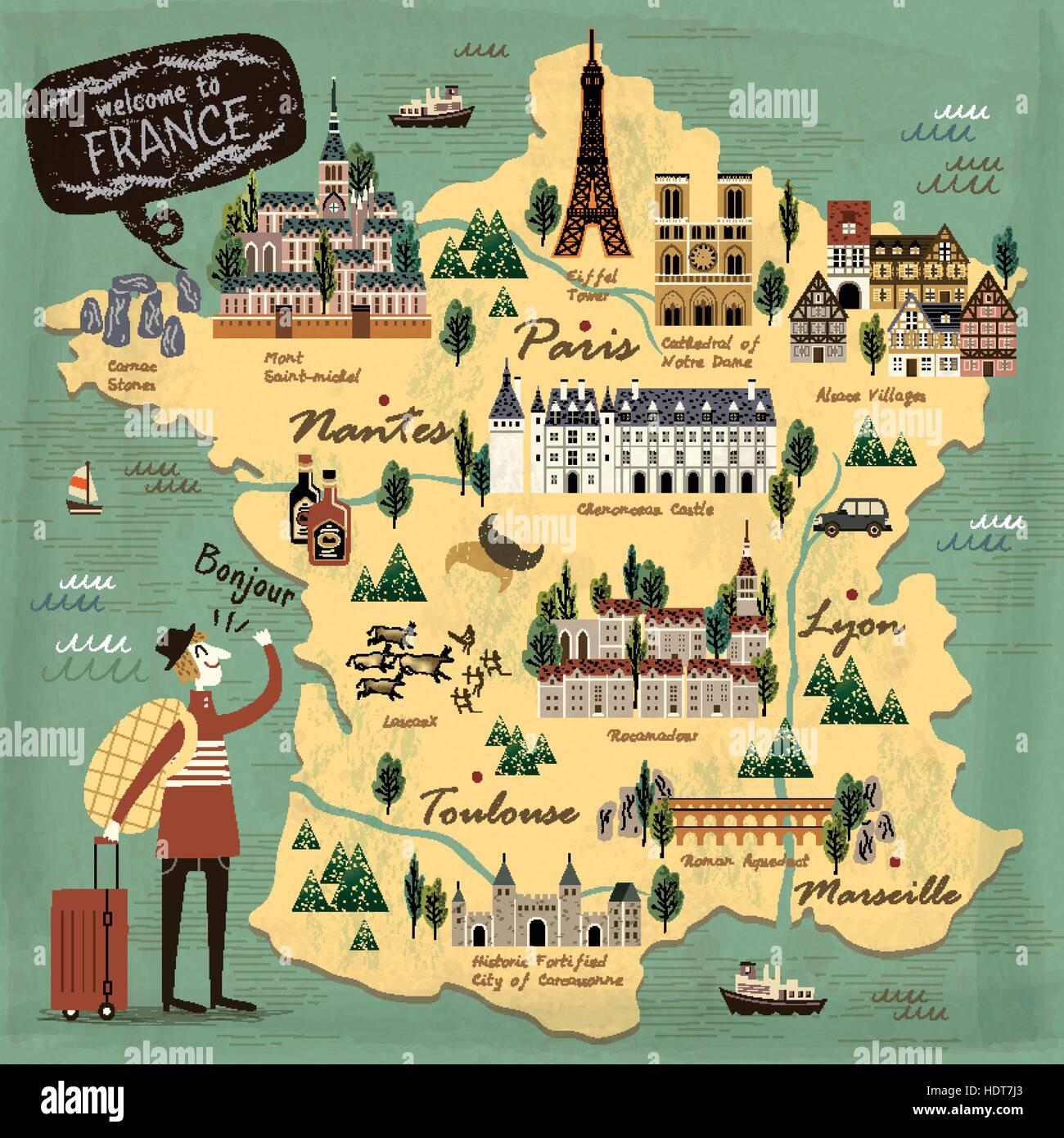 Cartina Della Francia Con Monumenti.In Francia Il Concetto Di Viaggio Illustrazione Mappa Con Attrazioni Immagine E Vettoriale Alamy