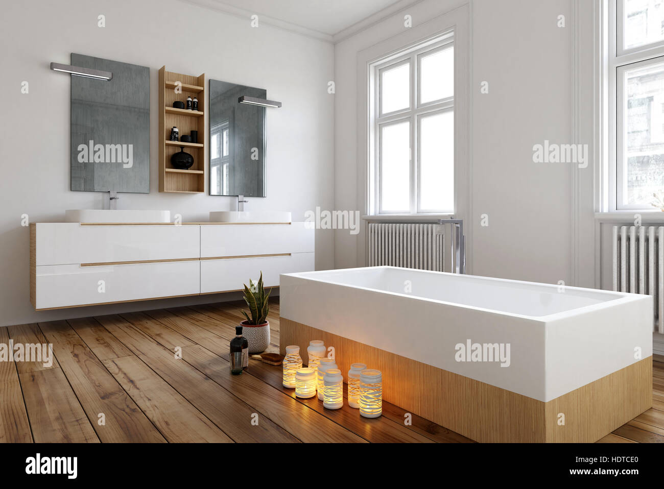 Bagno Romantico Foto : Bagno romantico con candele accese a fianco di una moderna vasca