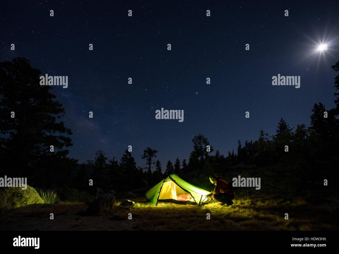Campeggio in Sierra forestale nazionale, California, Stati Uniti d'America, America del nord Immagini Stock