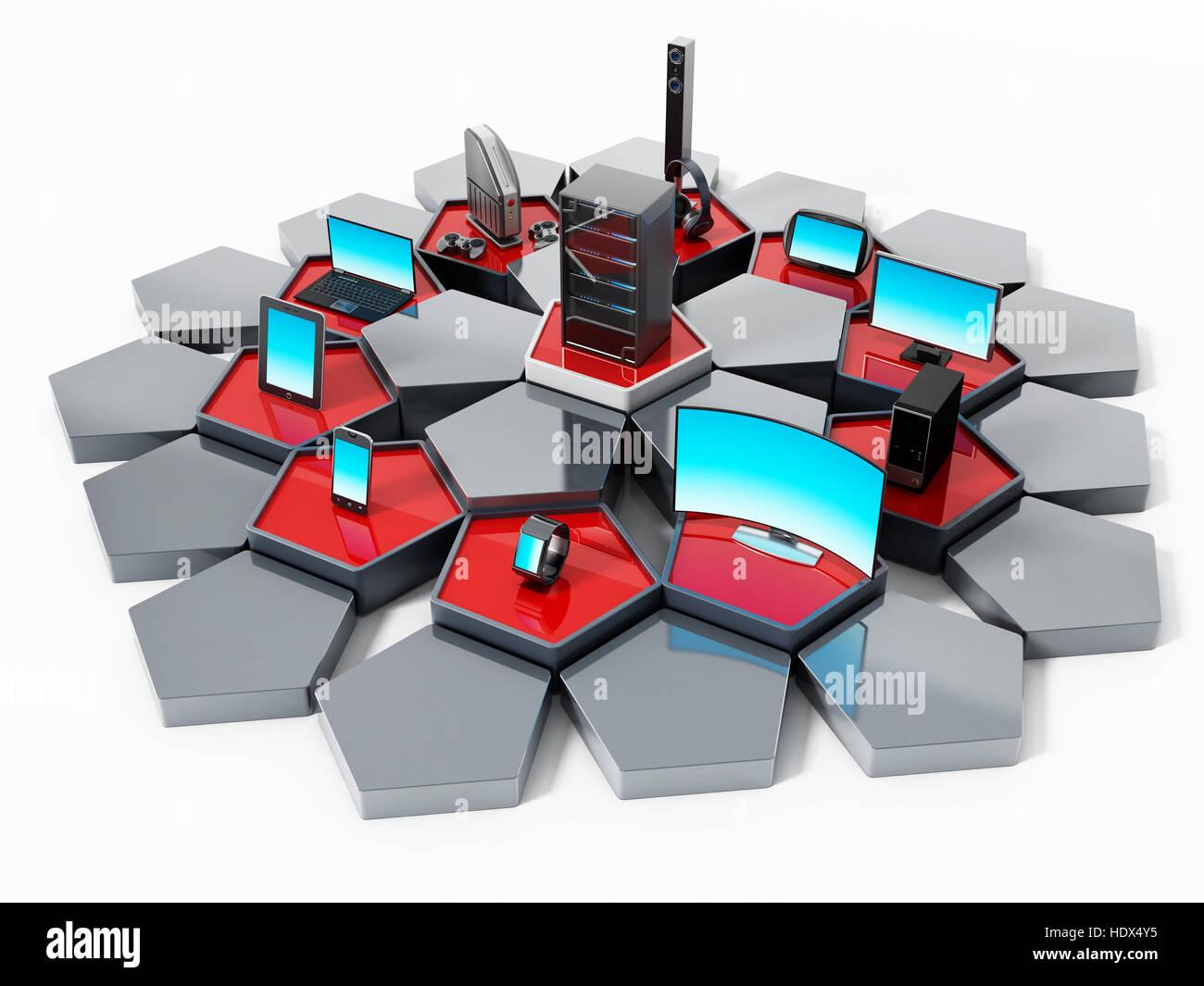 Rete con piastrelle del pentagono il collegamento di dispositivi
