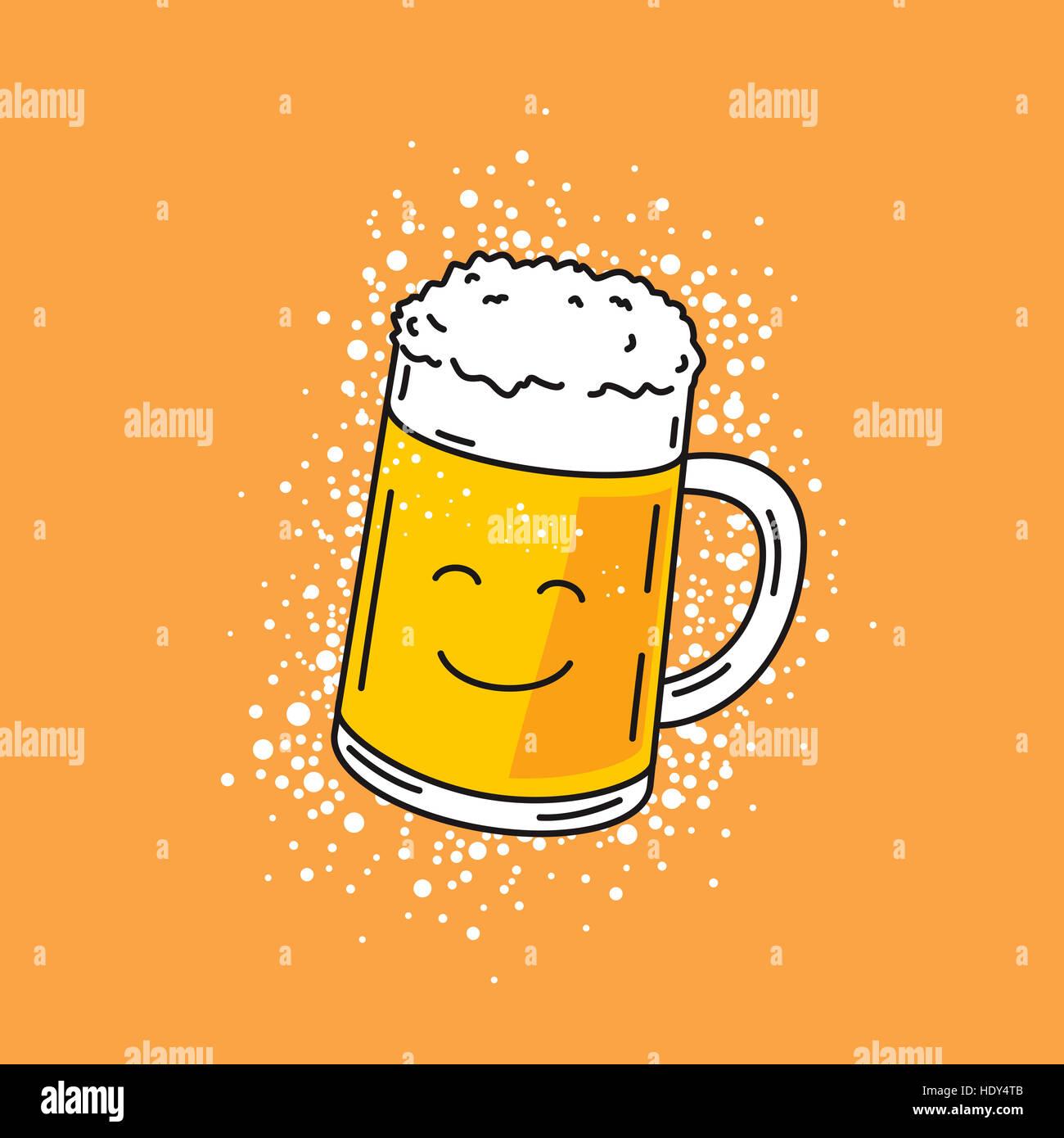 Cartoon Illustrazione Di Carino Sorridente Boccale Di Birra Su