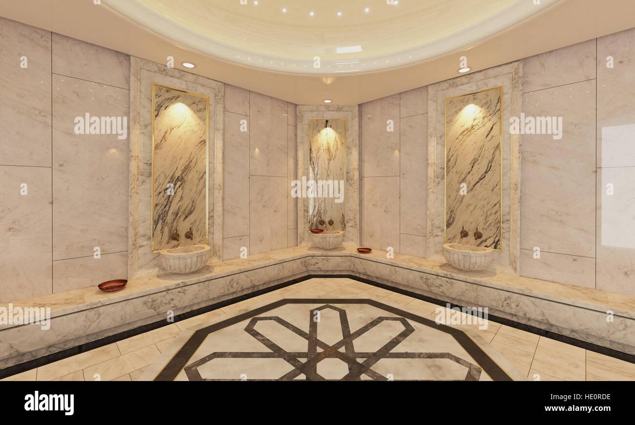 Marmo moderno bagno turco progettazione d e rendering foto