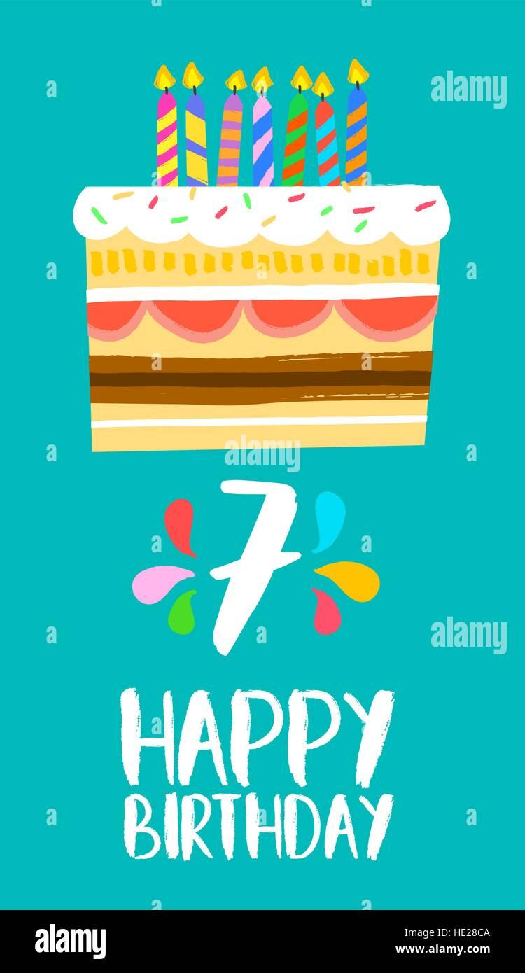 Auguri Buon Compleanno 7 Anni.Buon Compleanno Numero 7 Biglietto Di Auguri Per Sette Anni