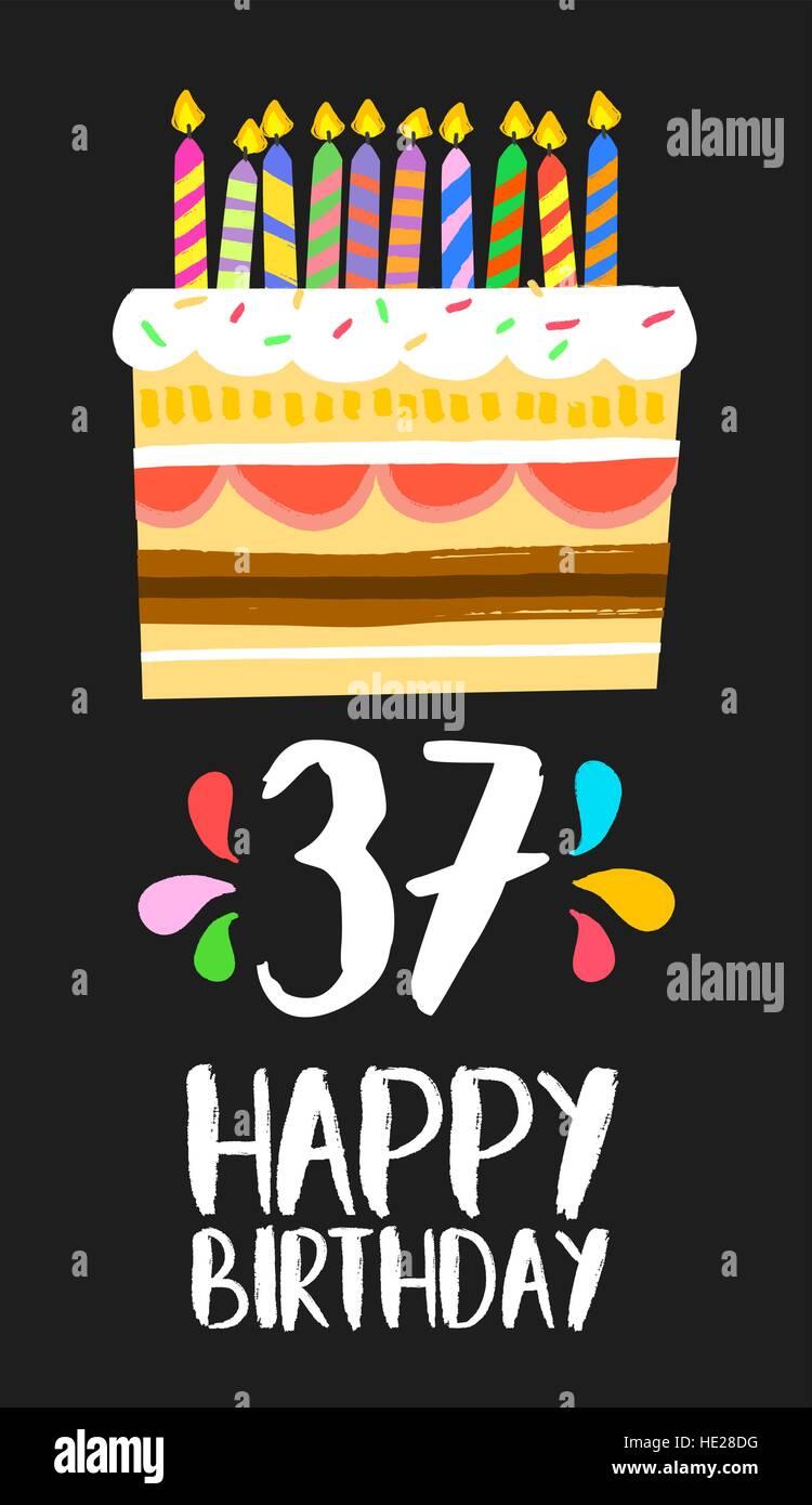Buon compleanno numero 37, biglietto di auguri per trenta sette