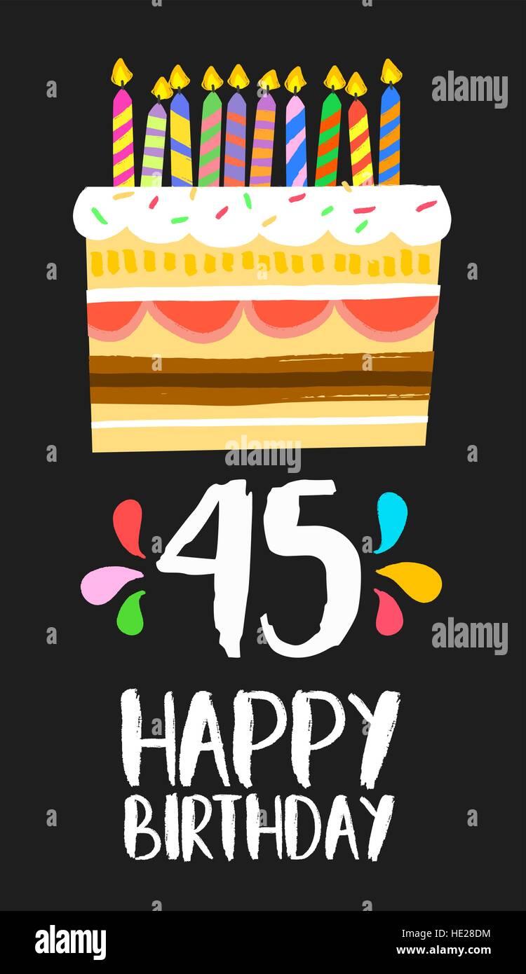 Auguri Buon Compleanno 45.Buon Compleanno Numero 45 Biglietto Di Auguri Per Quaranta