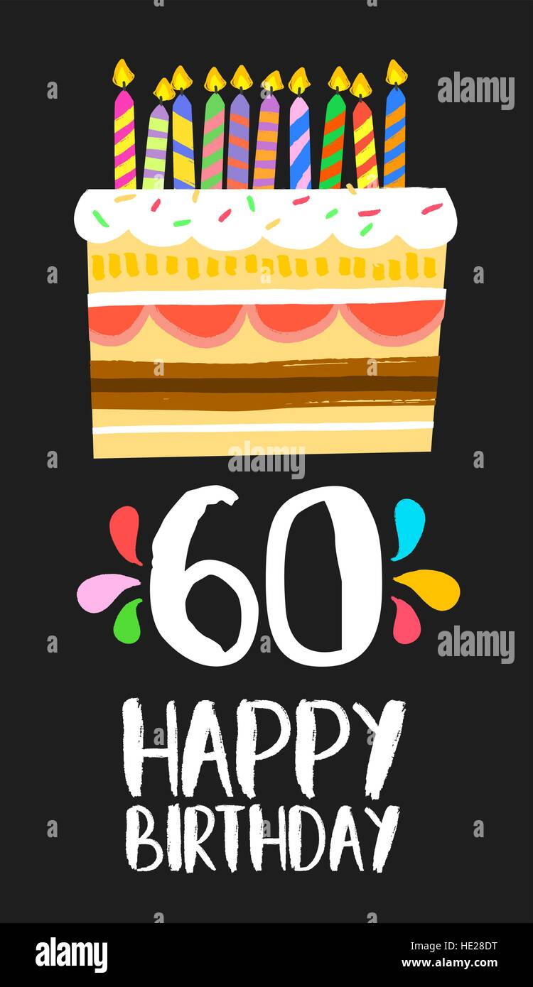 Buon Compleanno Numero 60 Biglietto Di Auguri Per Sessanta Anni Di
