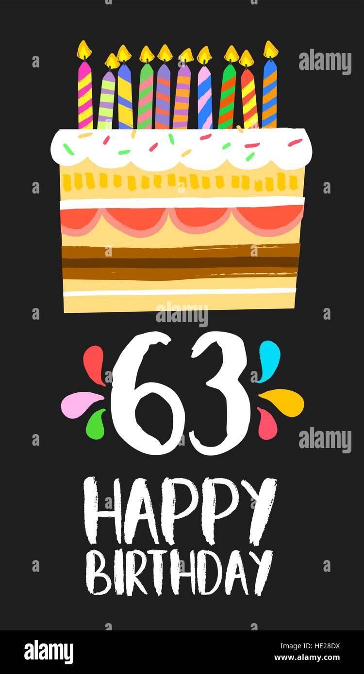 Buon compleanno numero 63, biglietto di auguri per una sessantina