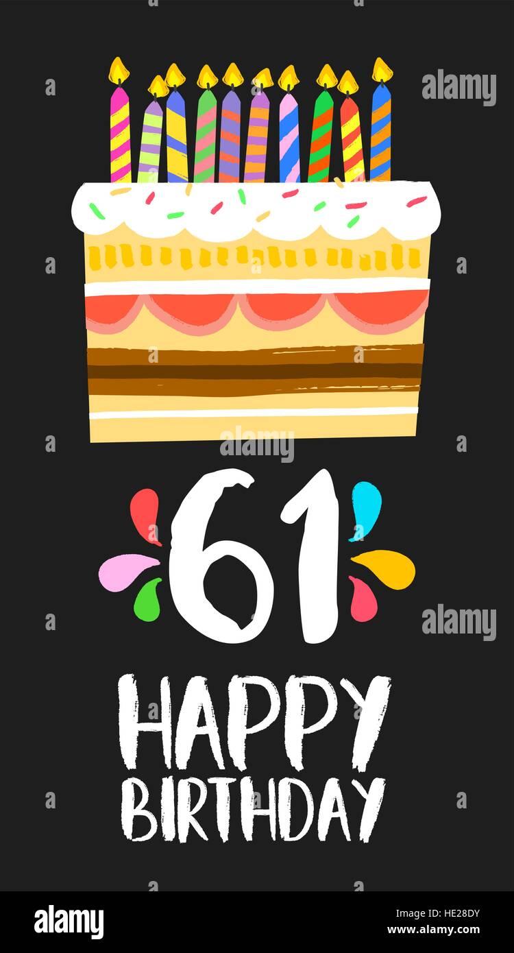 Buon compleanno numero 61, biglietto di auguri per sessanta anni