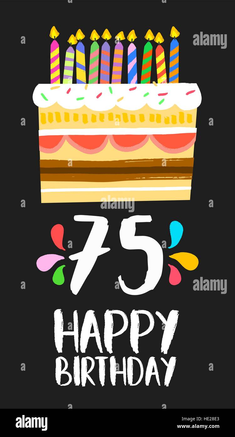 Auguri Di Buon 75 Compleanno.Buon Compleanno Numero 75 Biglietto Di Auguri Per I