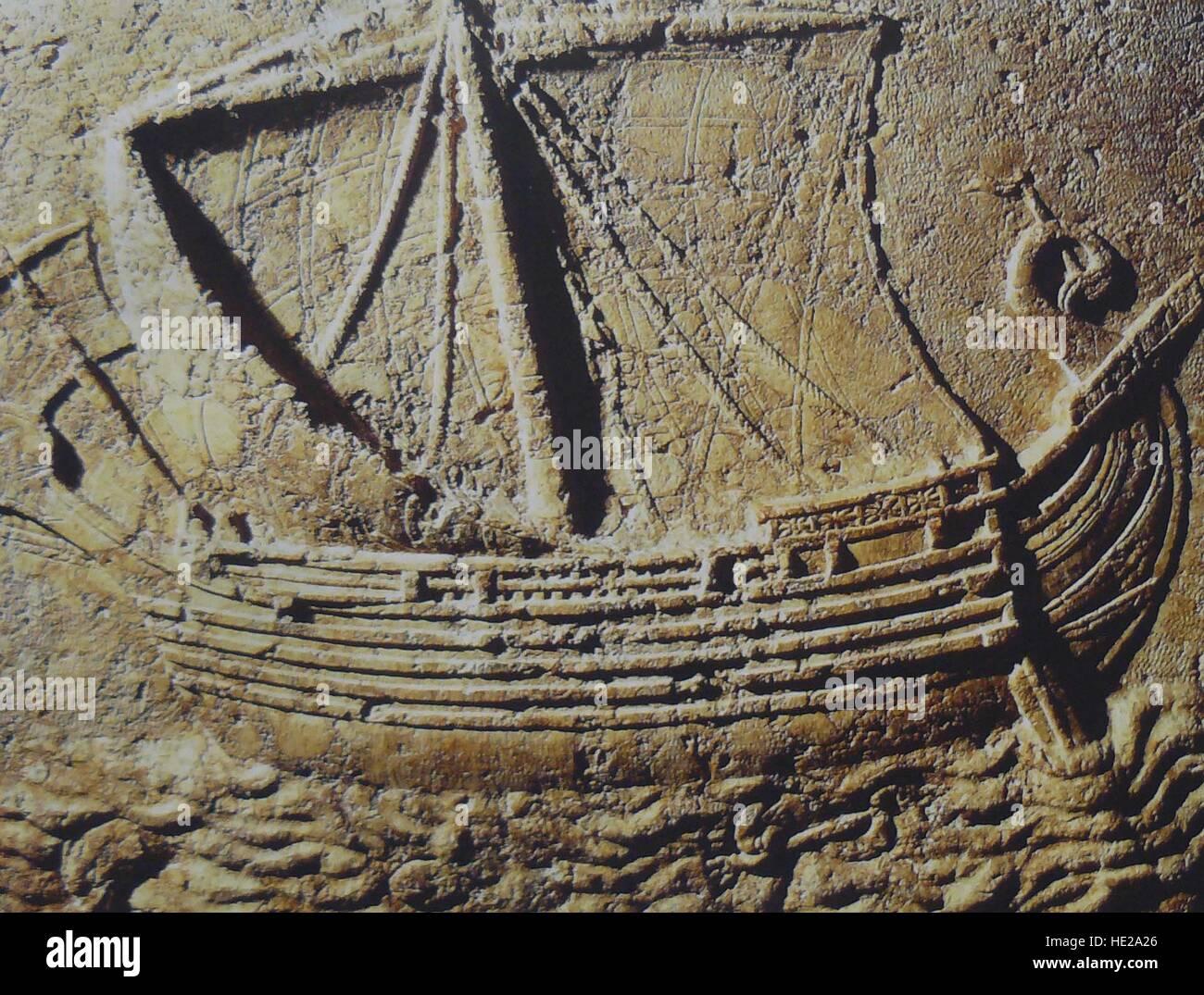 Fenicia nave mercantile, scultura in pietra risalente c. 1st. C. AD. Immagini Stock