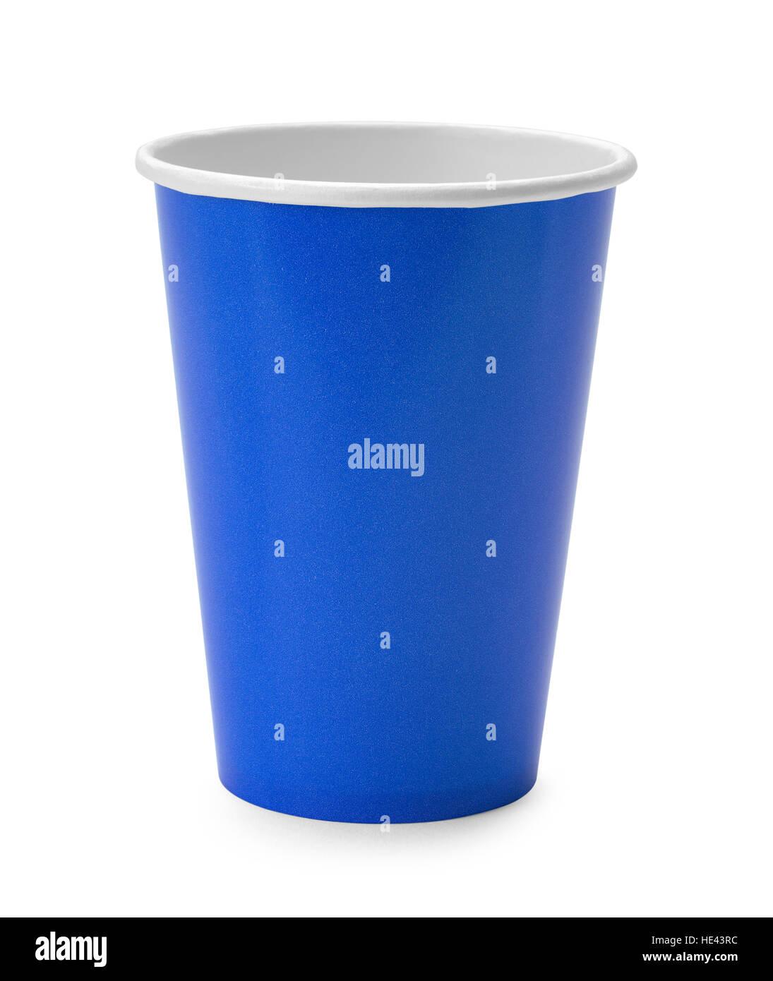 Carta blu tazza isolata su sfondo bianco. Immagini Stock