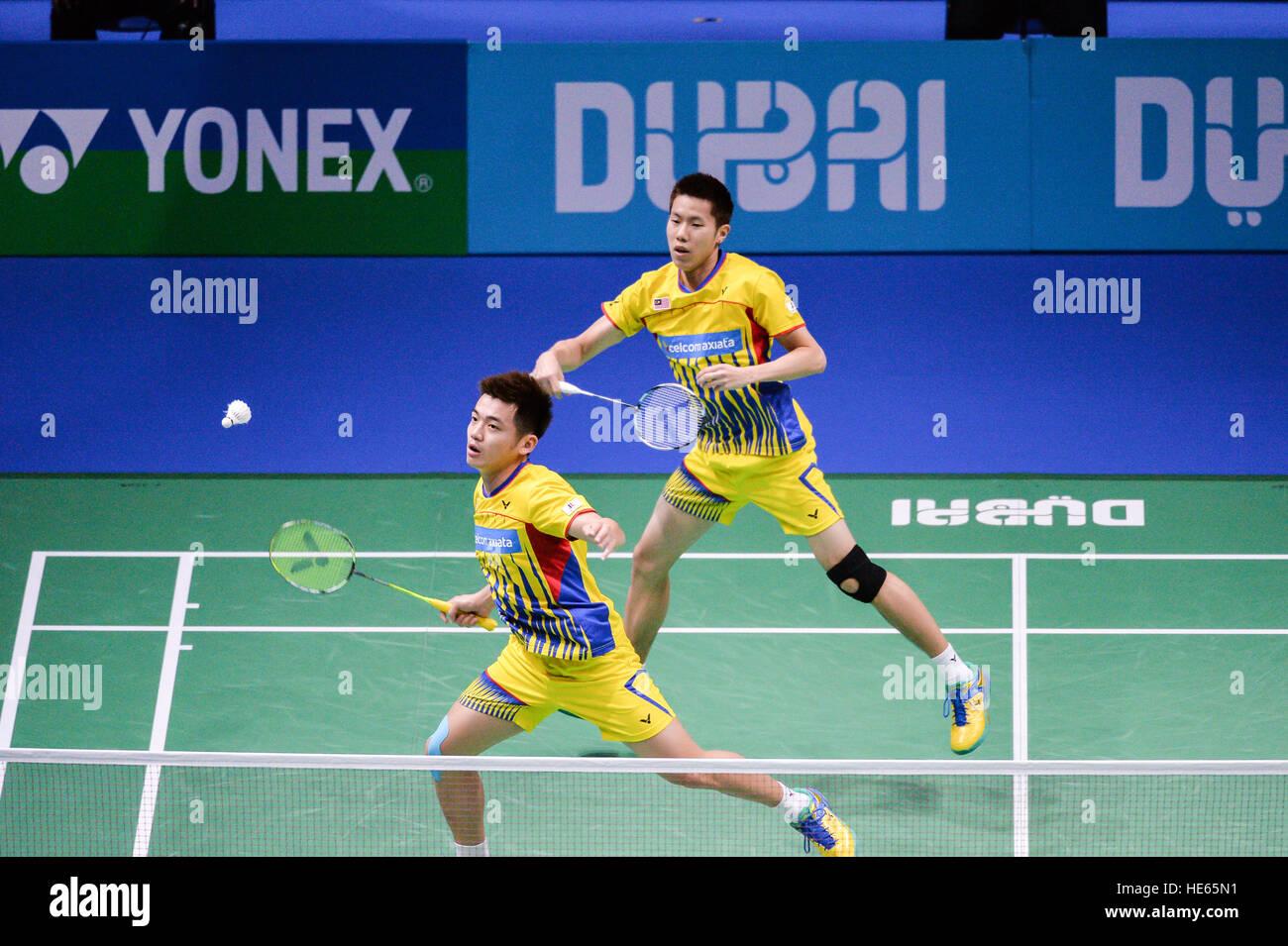 DUBAI, UAE, 18 dic 2016. La Malaysia ha Goh V Shem e Tan Wee Kiong in azione contro il Giappone di Takeshi Kamura Immagini Stock