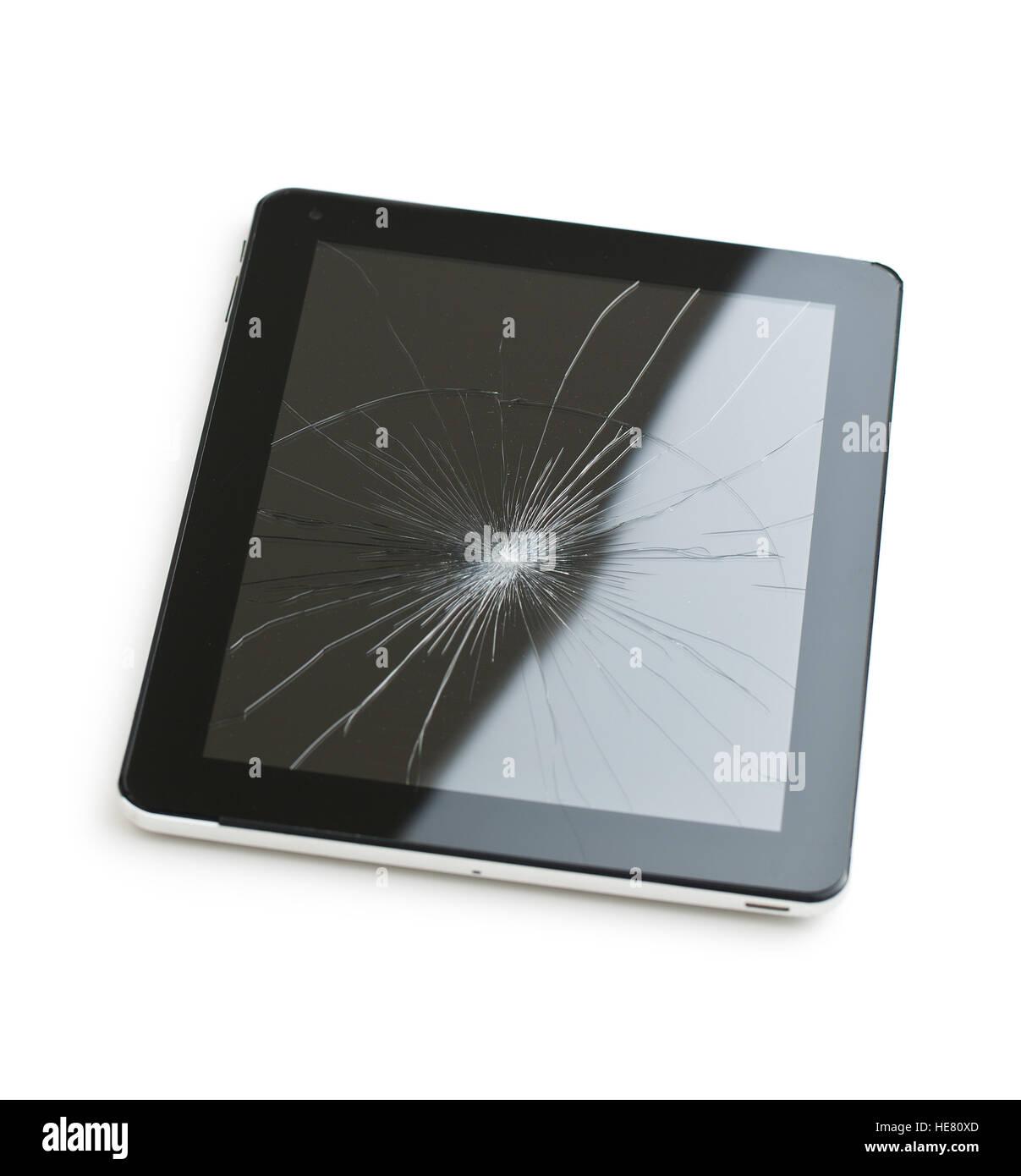 Tablet Pc Con Schermo Rotto Isolati Su Sfondo Bianco Foto Immagine