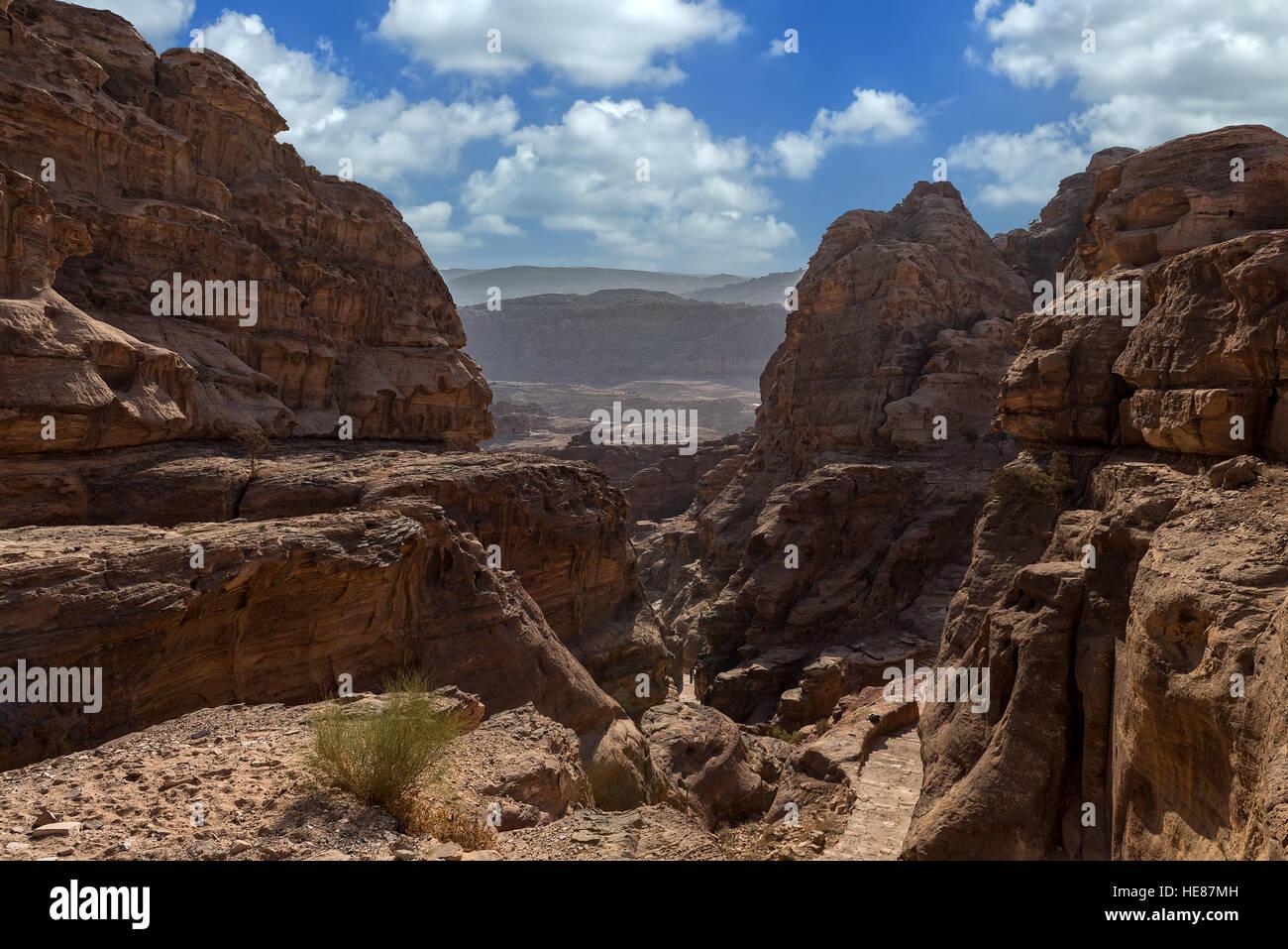 Splendide rocce e natura in Petra, Giordania Immagini Stock
