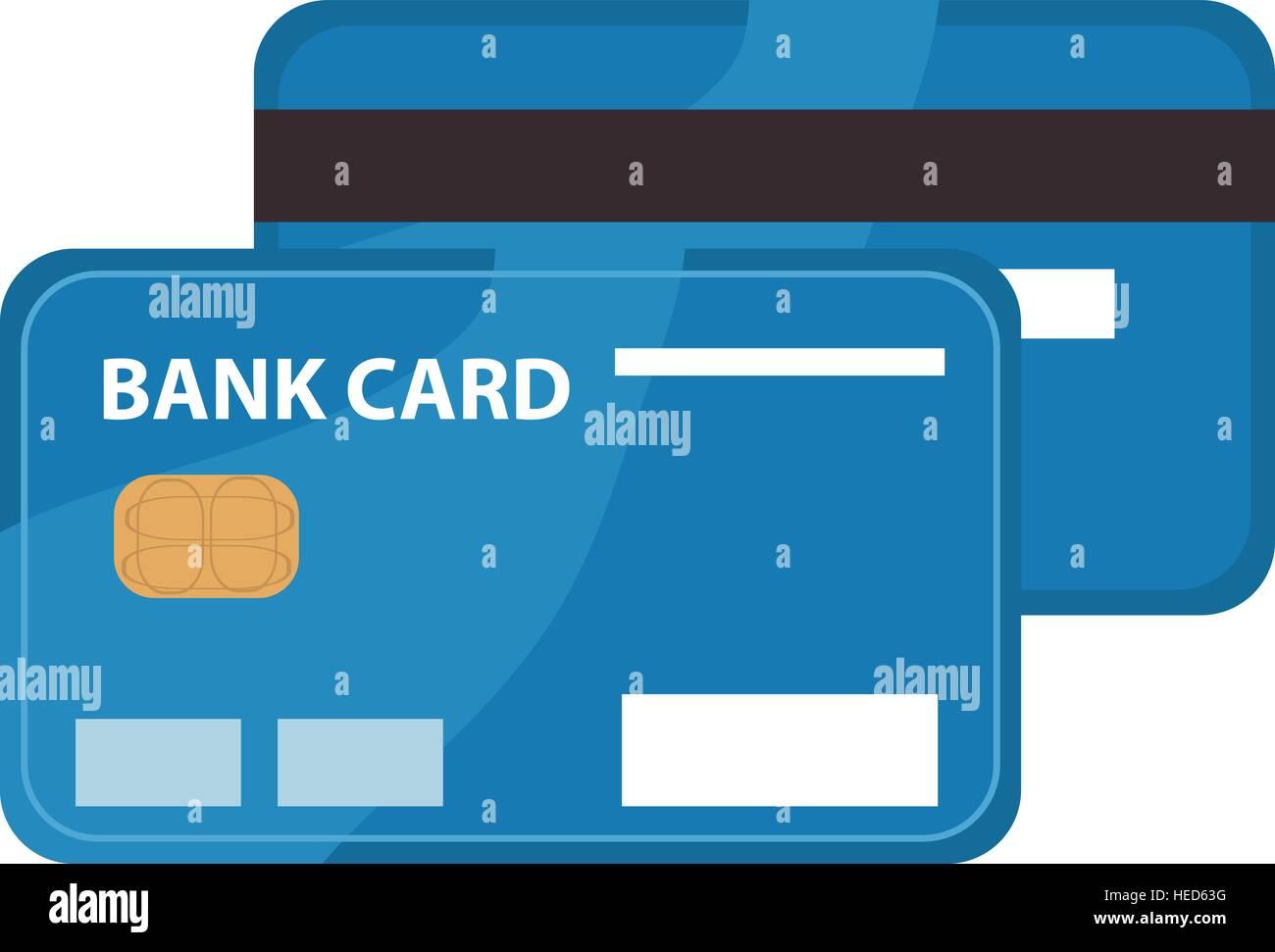 L'icona Carta di credito, design piatto. Carta bancaria isolati su sfondo bianco. Illustrazione Vettoriale, Immagini Stock