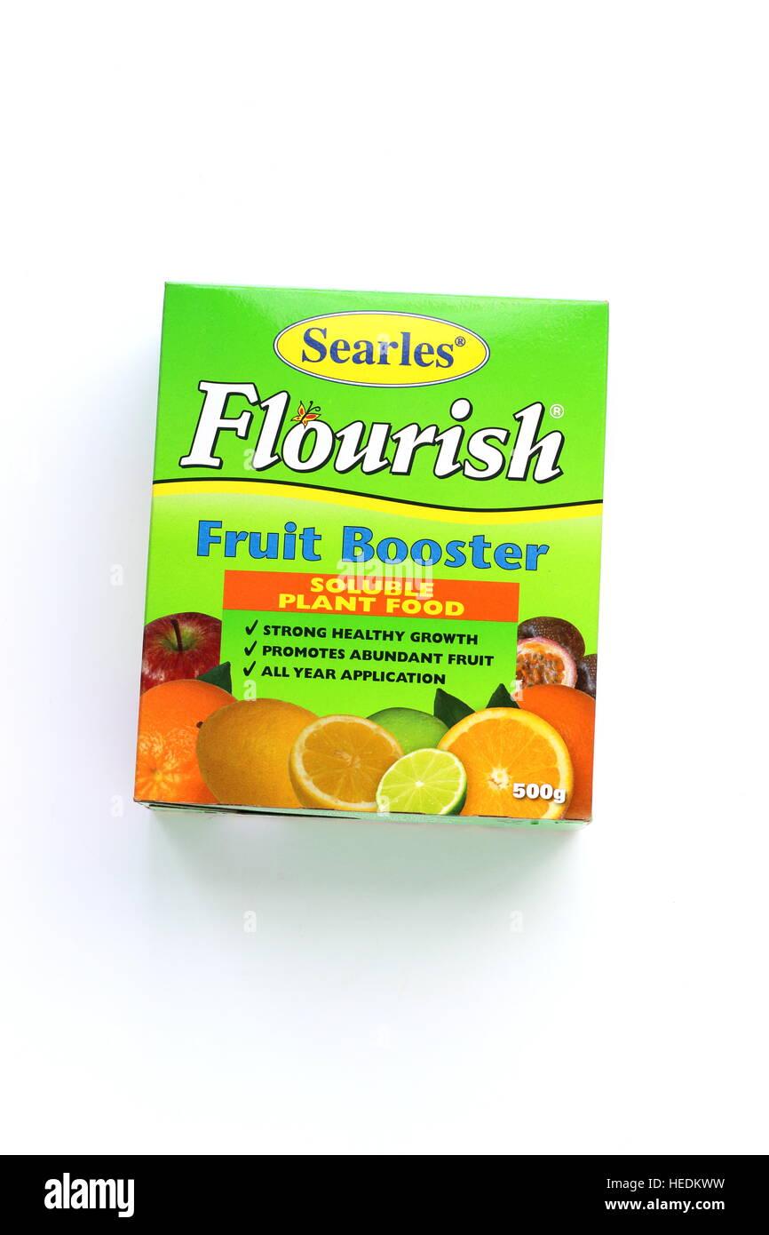 Searles fiorire Booster di frutta e liquido fertilizzante solubile isolato contro uno sfondo bianco Immagini Stock