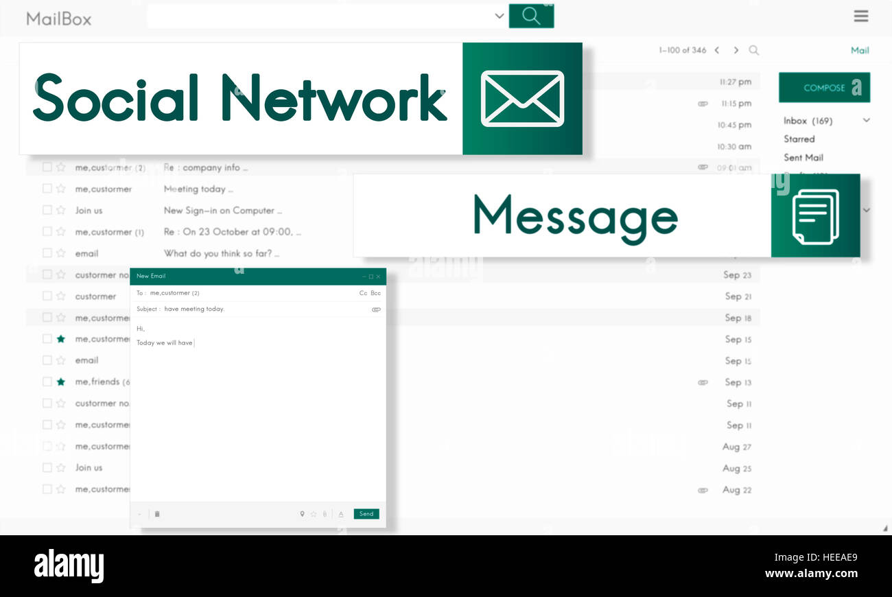 E-mail globale di collegamento di comunicazione sociale il concetto di rete Immagini Stock