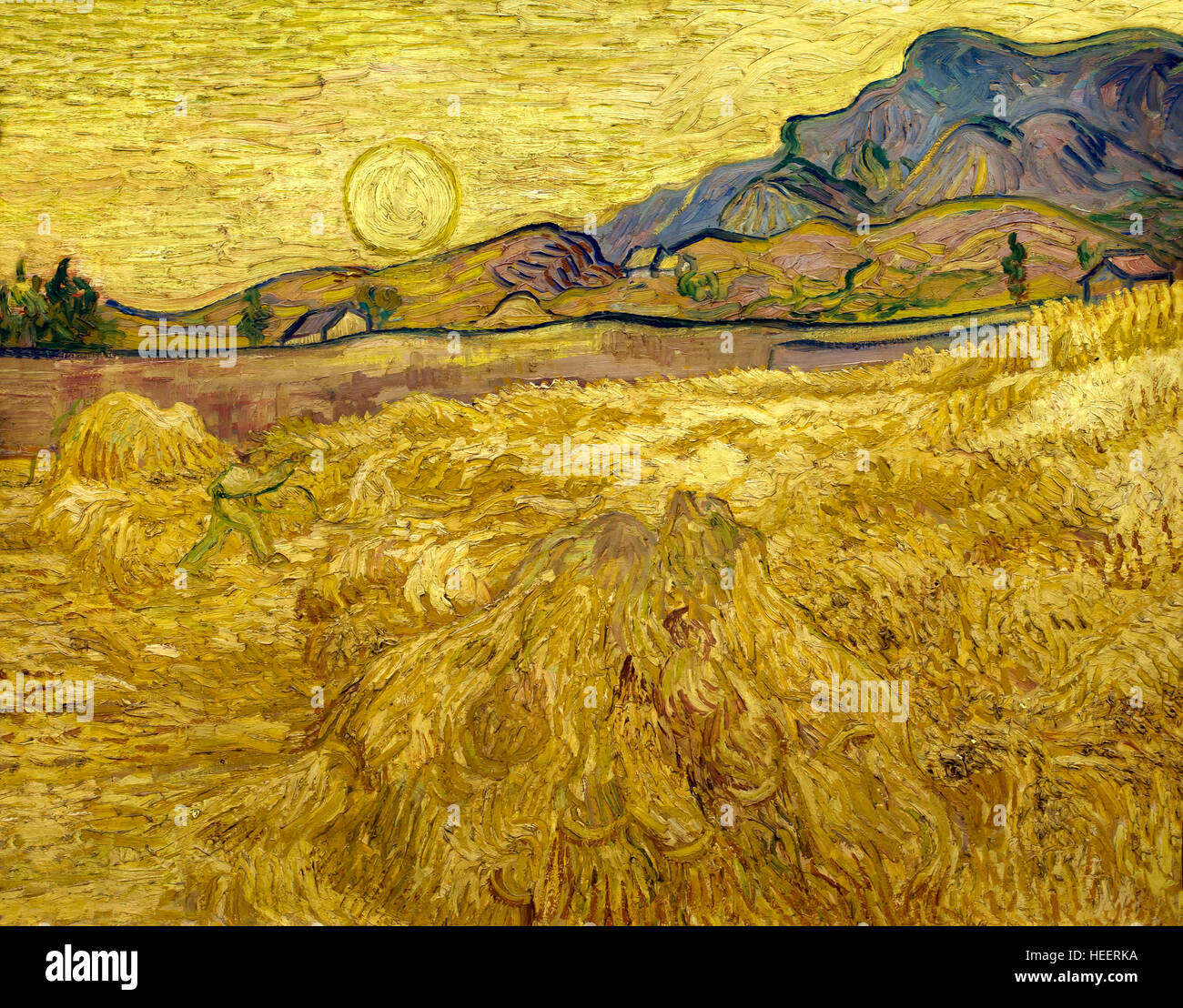 Campo di grano con mietitore e sole di Vincent van Gogh, 1889, Kroller-Muller Museum, Hoge Veluwe National Park, Immagini Stock
