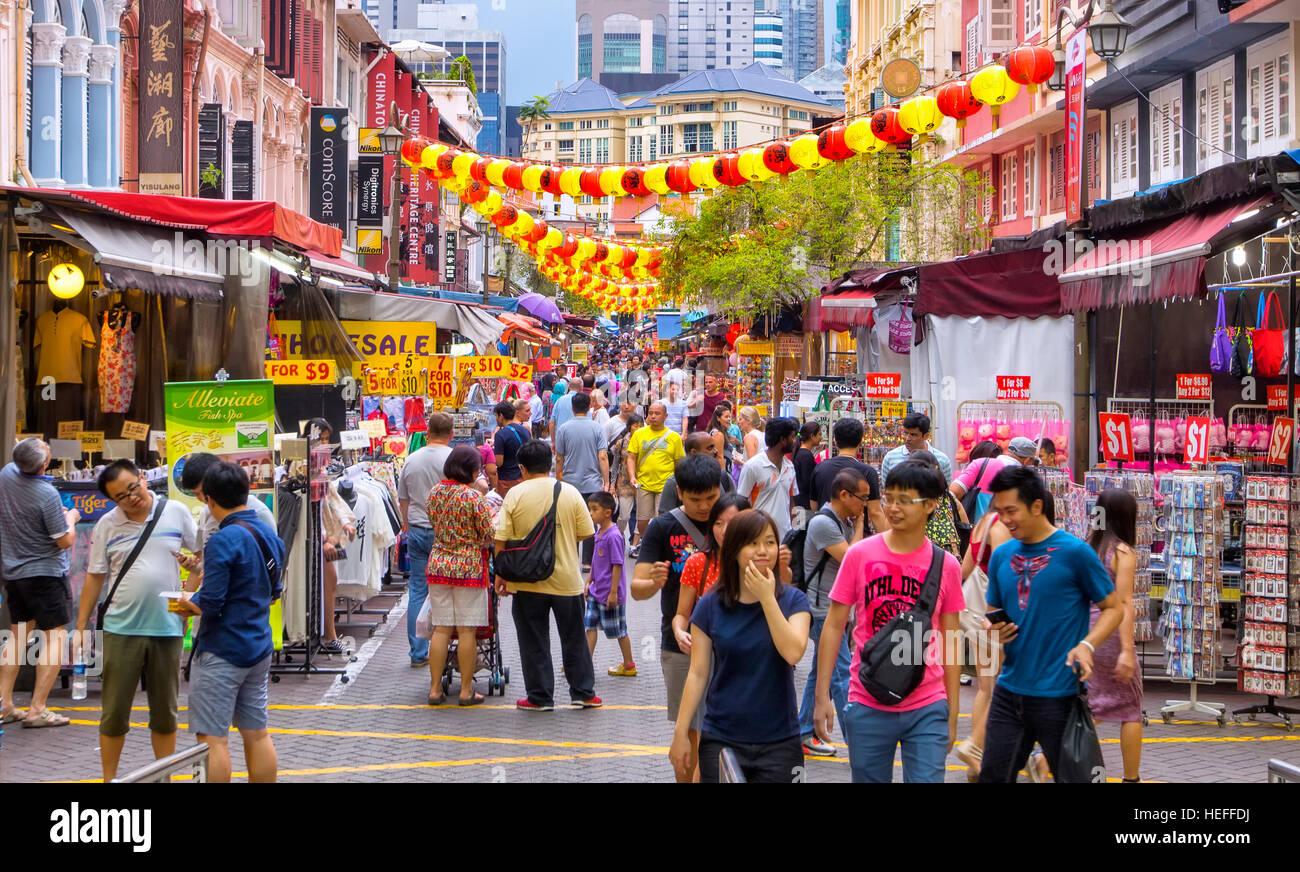 Bancarelle e botteghe in Chinatown, Singapore Immagini Stock