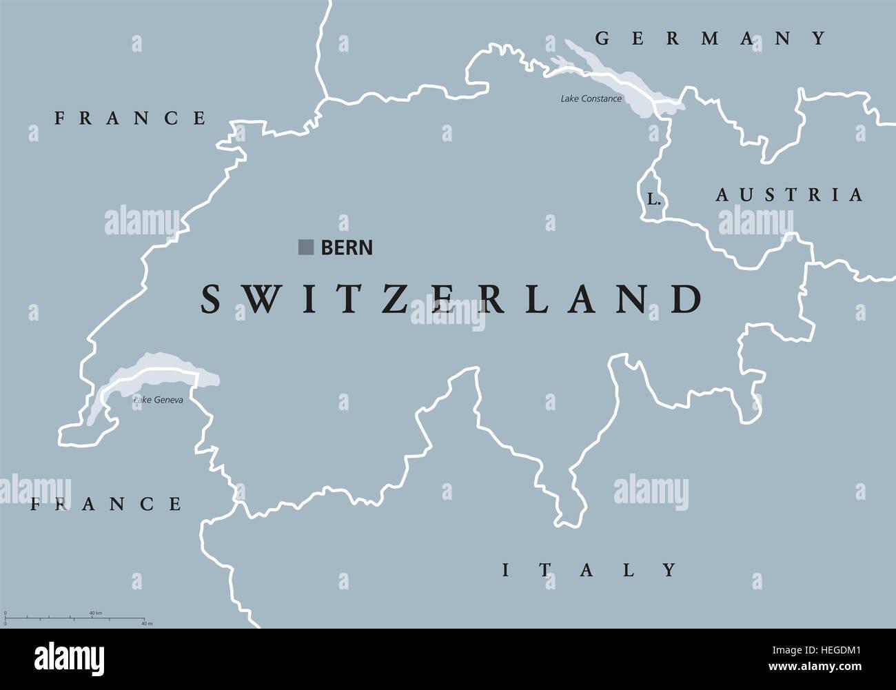 Svizzera Cartina Geografica Politica.Svizzera Mappa Politico Con Capitale Berna I Confini Nazionali E I Paesi Vicini Confederazione Svizzera Una Repubblica Federale Foto Stock Alamy