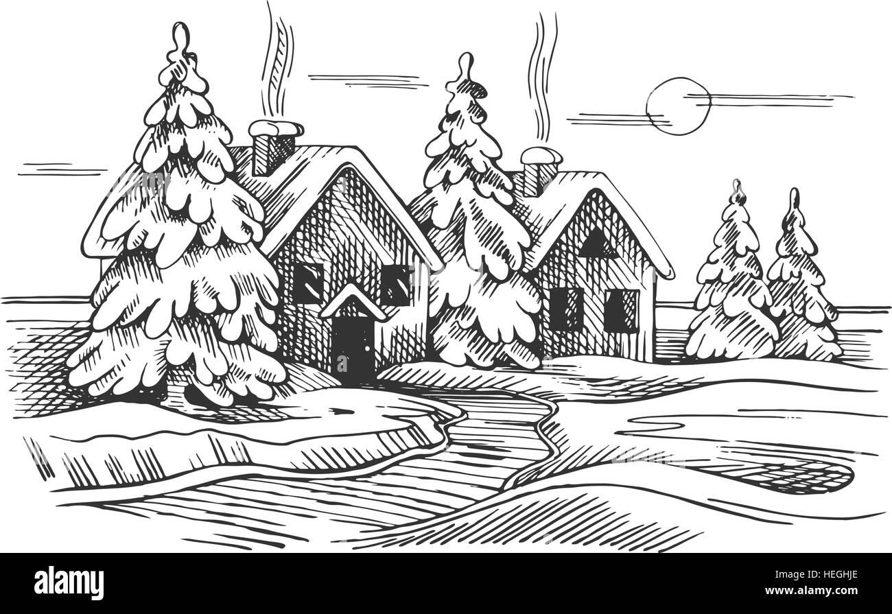 Disegno paesaggio invernale for Disegno paesaggio invernale