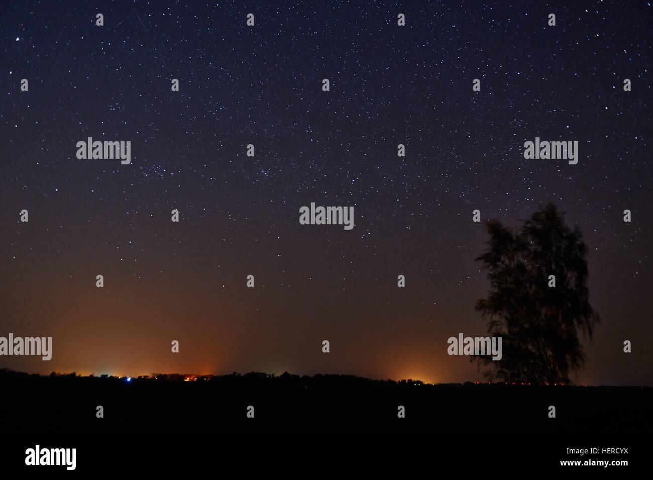 Brandeburgo, Gülpe, Sternenhimmel, AM 12. Februar wurde dem Westhavelland Naturpark der Titel Sternenpark, Immagini Stock