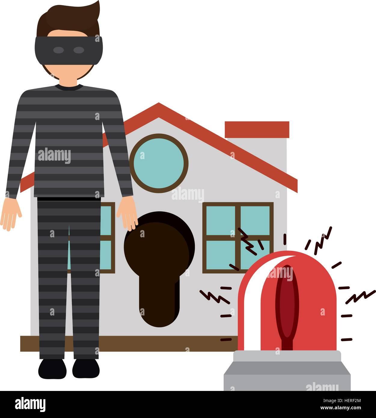 Allarme di casa e ladro icona. Assicurazione di protezione di ...