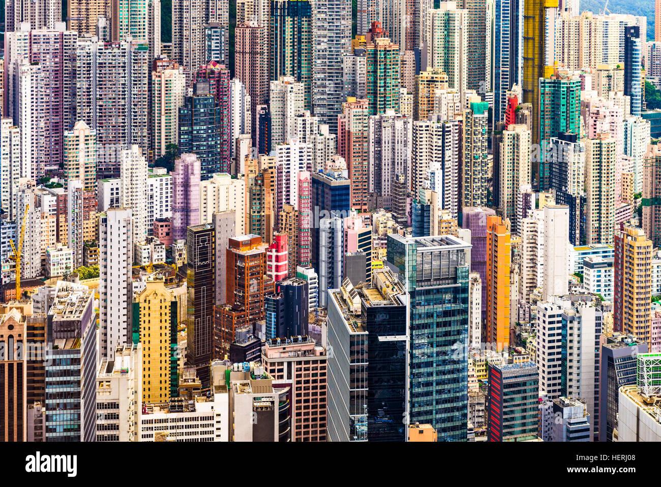 Hong Kong Cina densa di edifici urbani Immagini Stock
