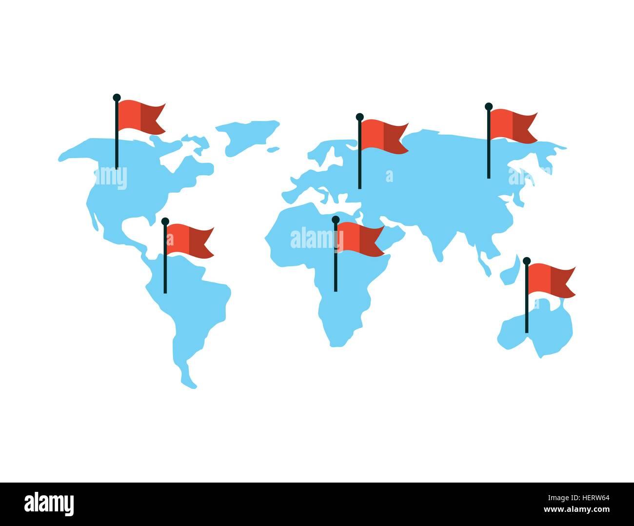 Cartina Mondo Con Bandiere.Cartina Del Mondo Con Le Bandiere Rosse Su Sfondo Bianco Design Colorato Illustrazione Vettoriale Immagine E Vettoriale Alamy