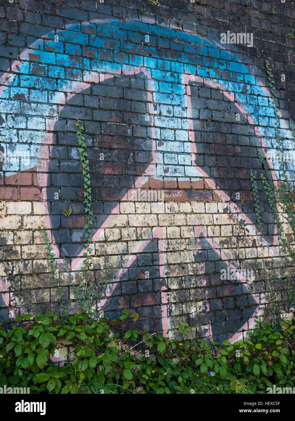 CND simbolo di pace, Tilehurst, Reading, in Inghilterra Immagini Stock