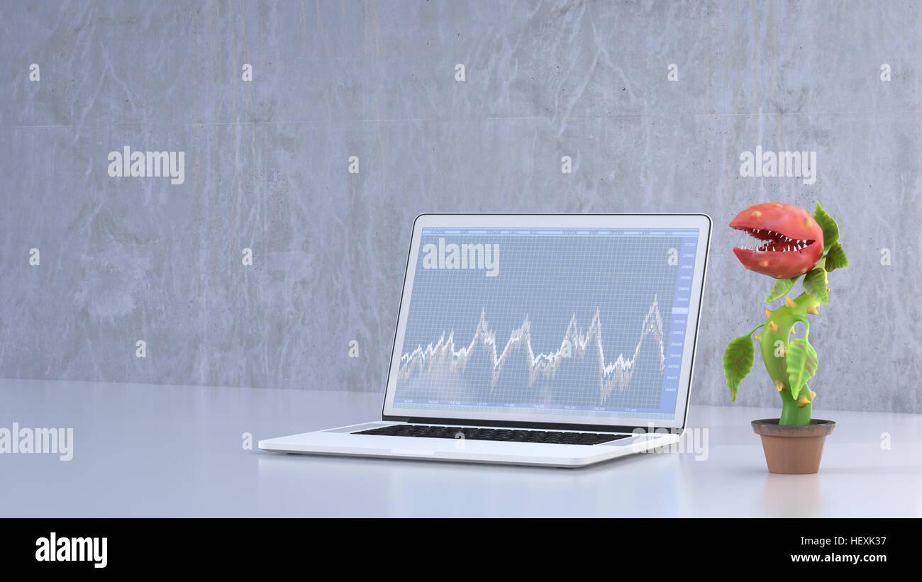 Pianta carnivora in piedi accanto al laptop Immagini Stock