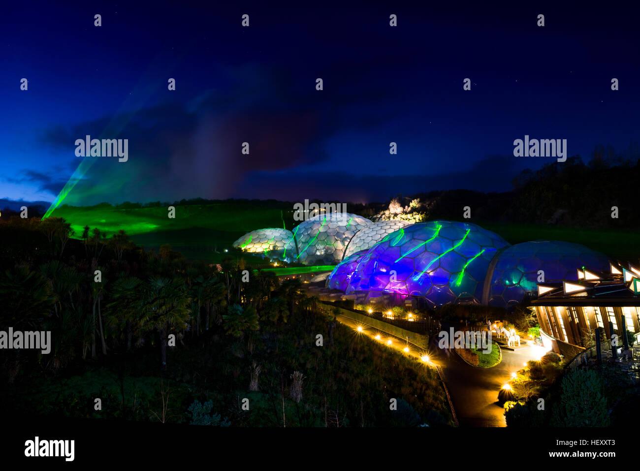 Eden Project luce e suono Evento, Eden Project, Cornwall, Regno Unito presi durante tutto il mese di dicembre 2016 Immagini Stock