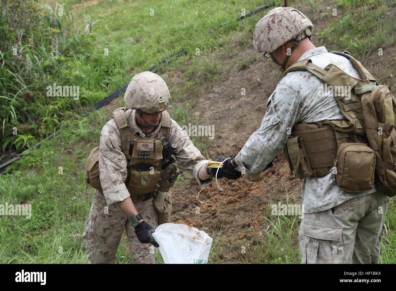 Il personale Sgt. Dustin R. Cutsinger, sinistra e Sgt. Jakob Schulz raccogliere prove da un'esplosione giugno Immagini Stock