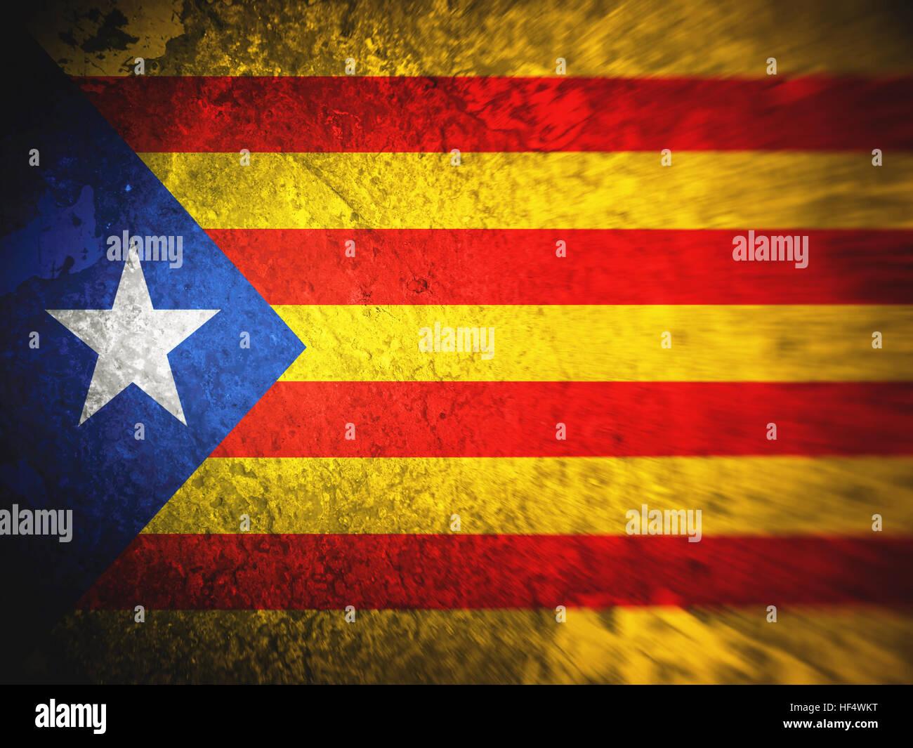 Bandiera della Catalogna, sfondi, texture, immagine sfocata, sporco Immagini Stock