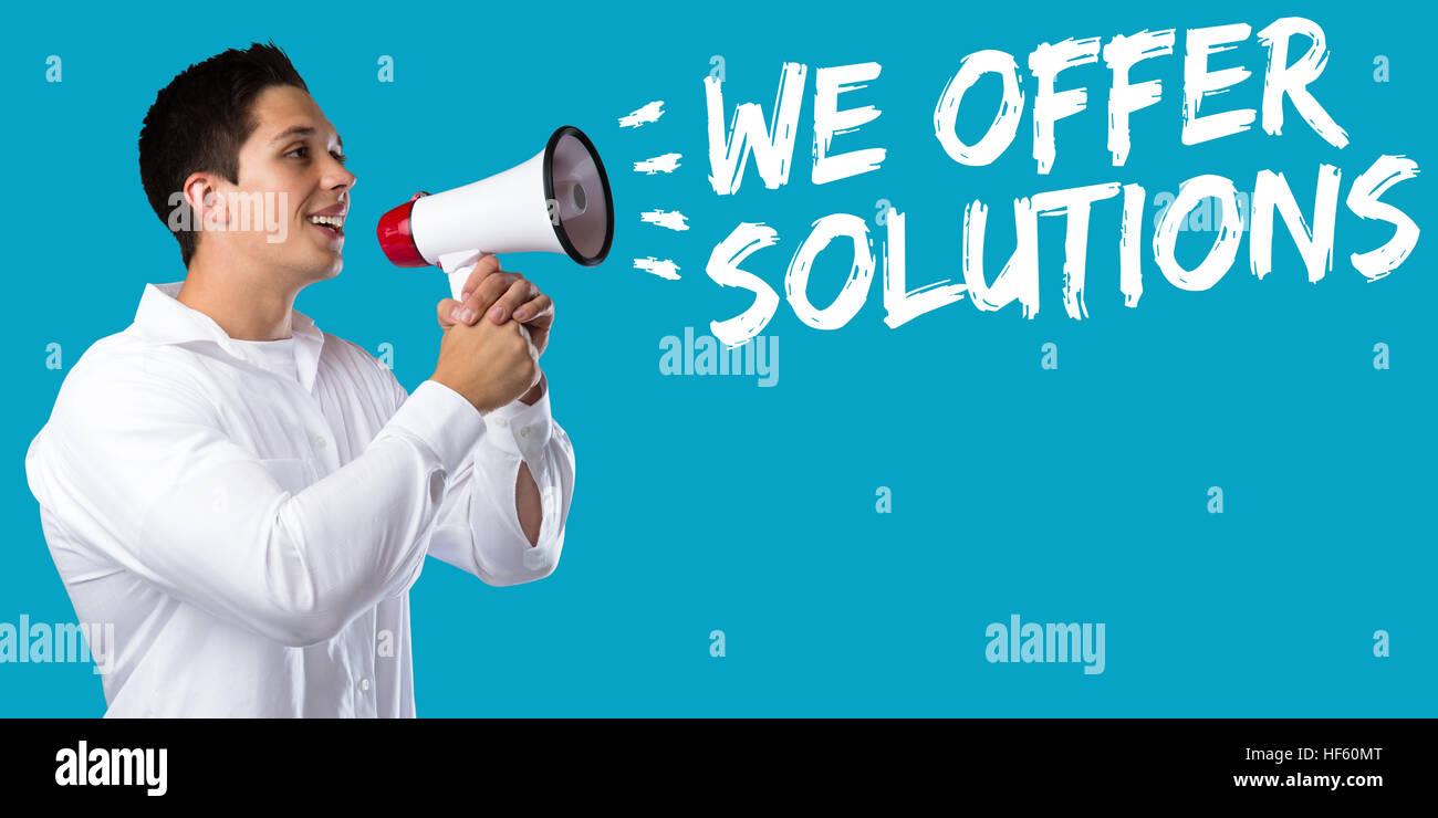 Offriamo soluzioni soluzione per il problema di concetto aziendale successo aiutare giovane uomo megafono bullhorn Immagini Stock