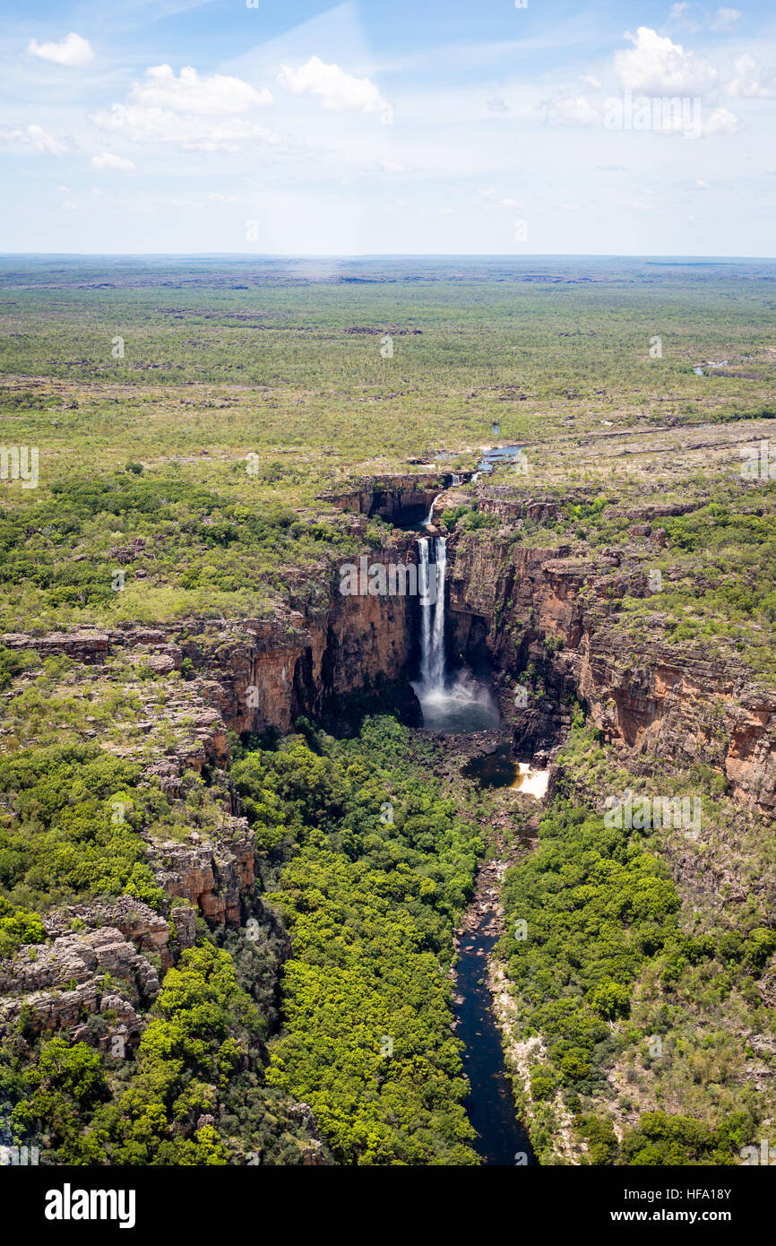 Kakadu National Park, il Territorio del Nord, l'Australia. Jim Jim Falls vista aerea. Foto Stock