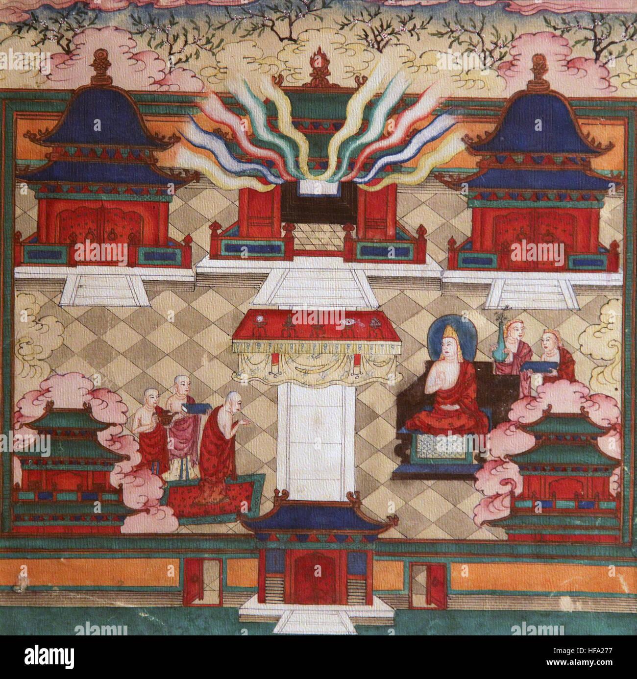 Buddista vajrayana Tibetano Meditazione dipinto del XVIII secolo il Buddha e la mente lo yoga mindfulness richiesta Immagini Stock