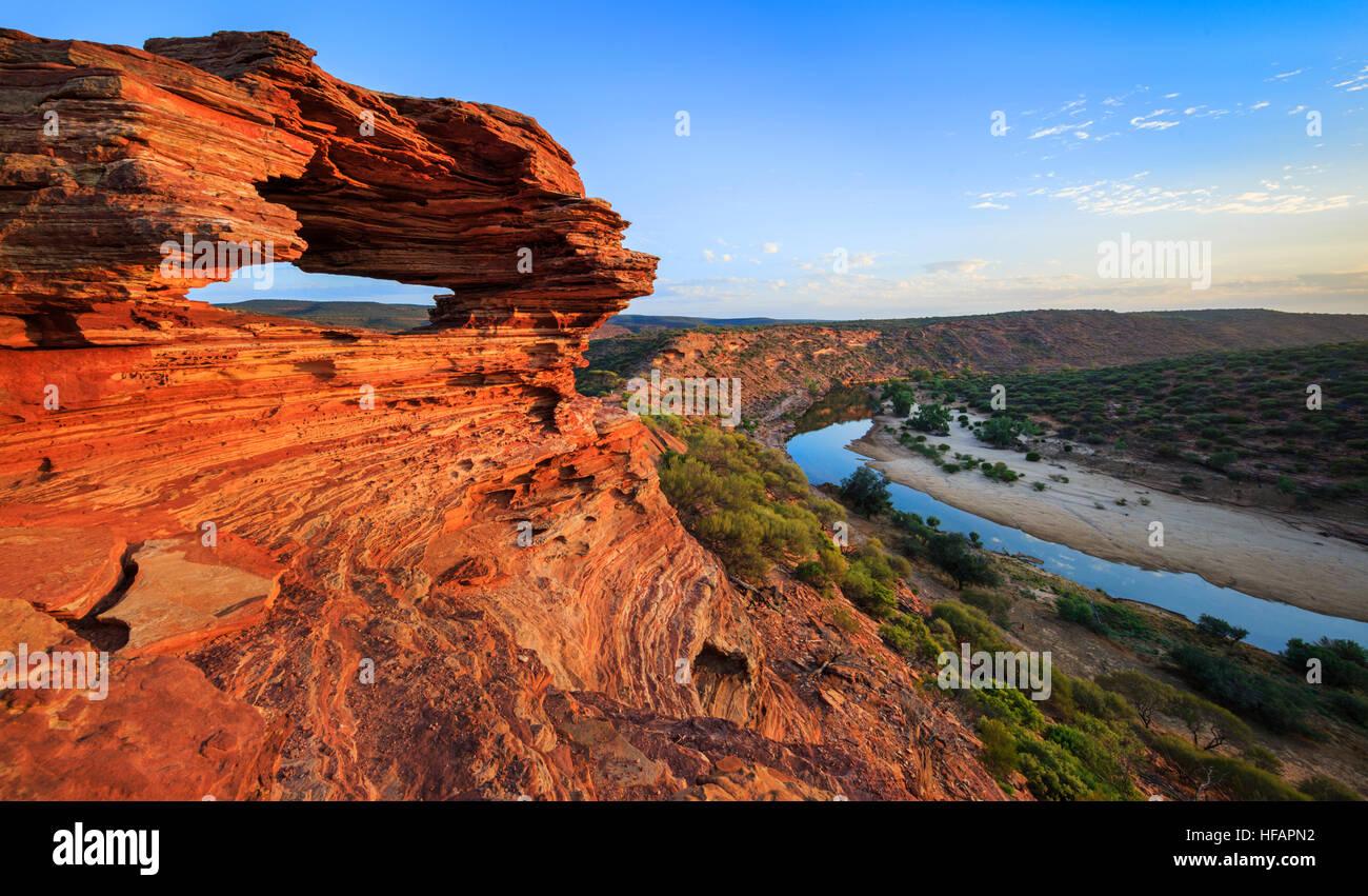 Kalbarri National Park, Australia. La natura della finestra lookout (formato da strati di pietra arenaria Tumblagooda) Immagini Stock