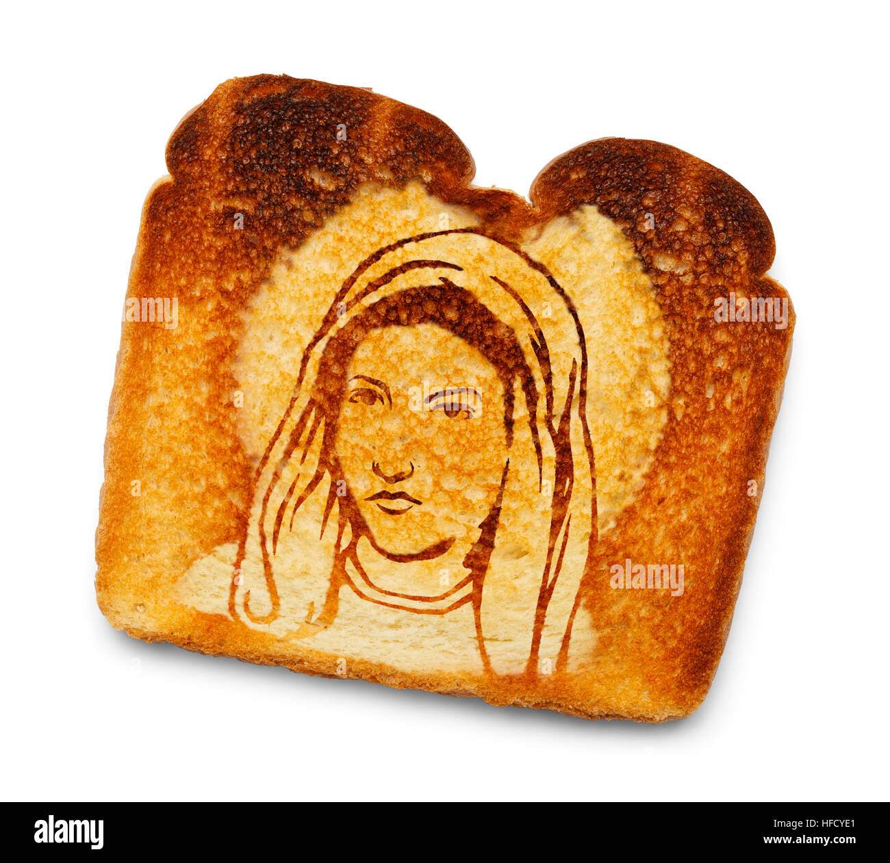 Vergine Maria immagine su toast bruciato isolato su sfondo bianco. Immagini Stock