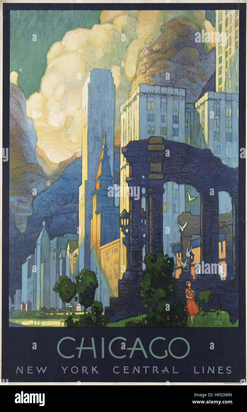 Vintage poster di viaggio - Chicago Immagini Stock