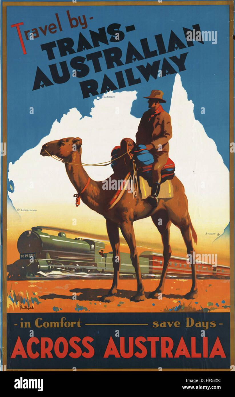 Viaggiare IN FERROVIA TRANS Australia in tutta l/'Australia assunzioni vintage TRAVEL poster