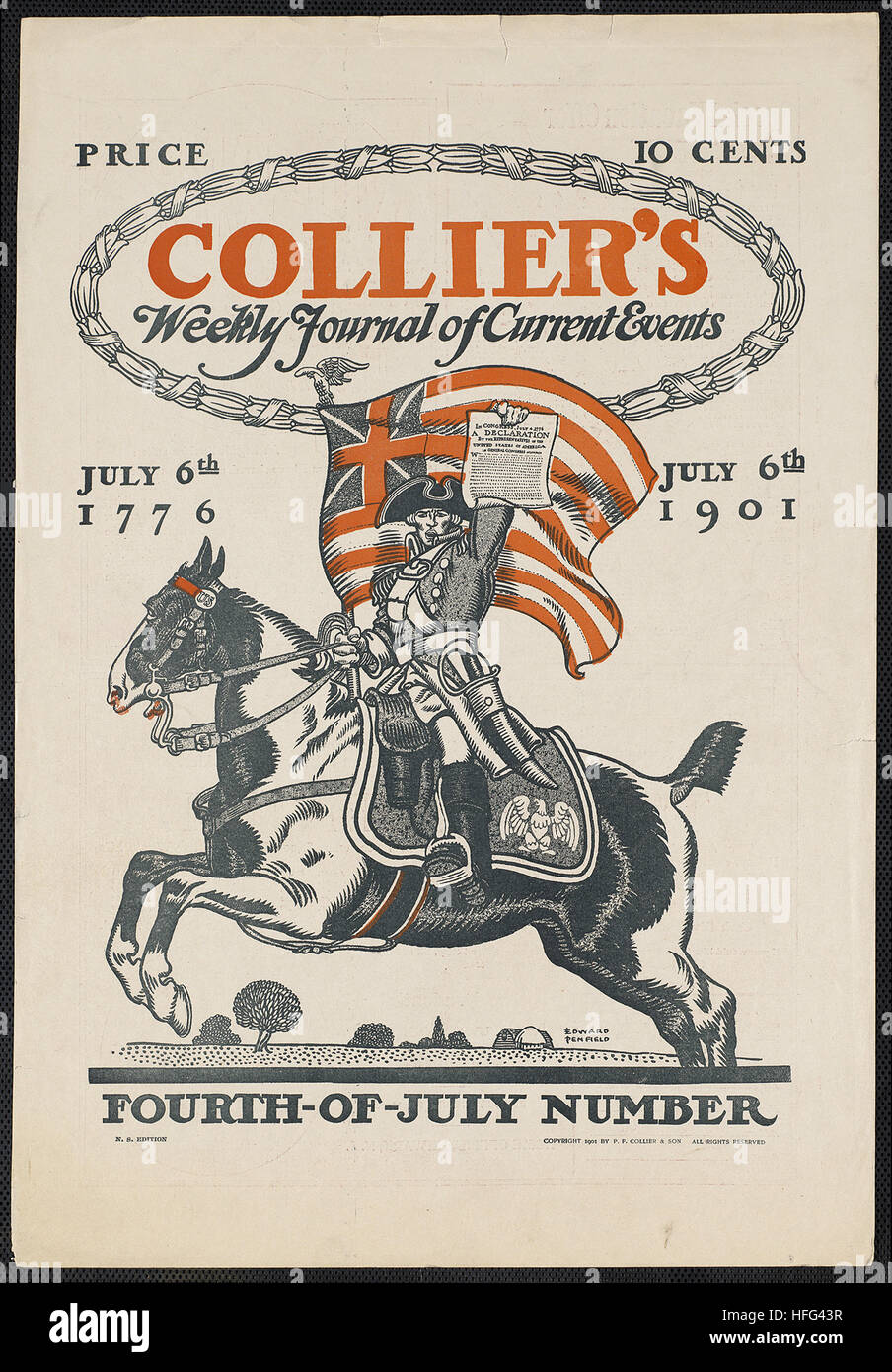 Collier's giornale settimanale degli eventi attuali, quarto-di-numero di luglio. Luglio 6th, 1776, 6 luglio Immagini Stock