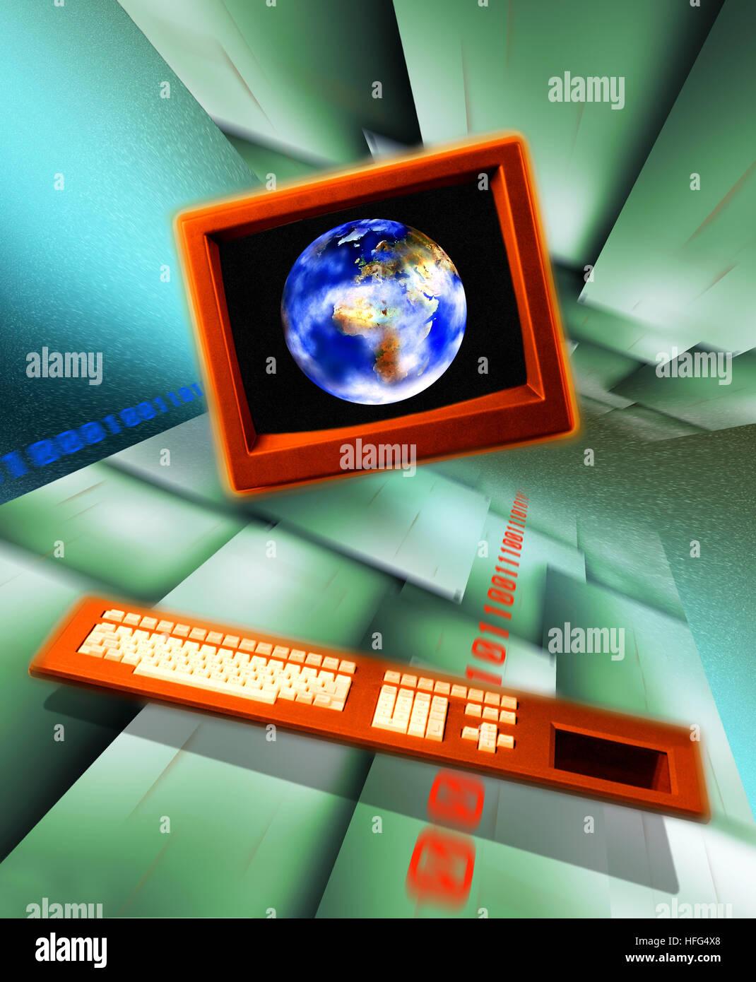 Multimedia Business, la terra e il computer Immagini Stock