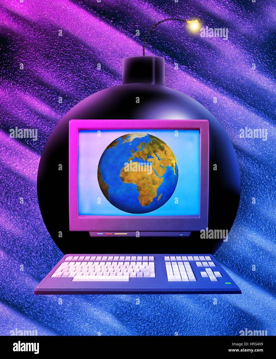 Multimedia Business, la terra, Computer e Bomb Immagini Stock