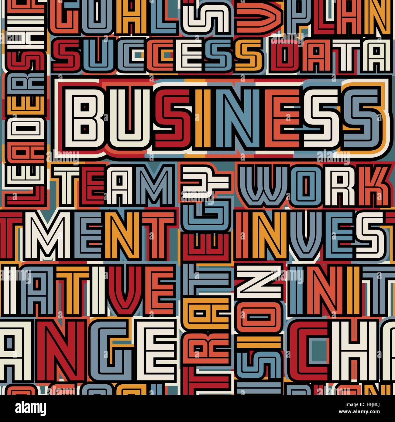 Vettore colorate piastrelle senza soluzione di continuità di business parole Immagini Stock