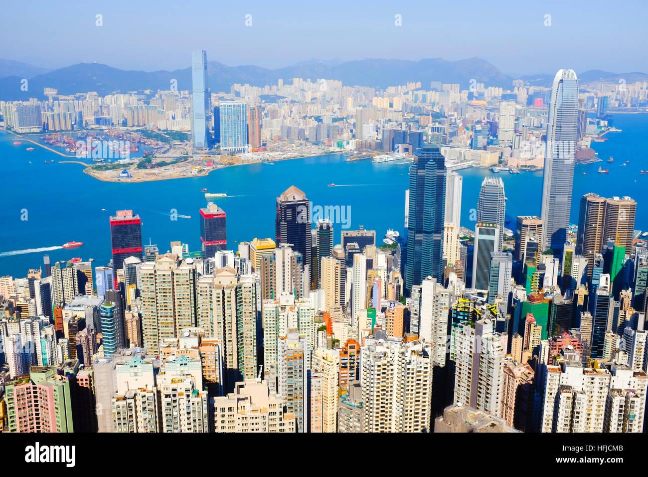 Skyline di Hong Kong, Hong Kong, in Asia. Immagini Stock