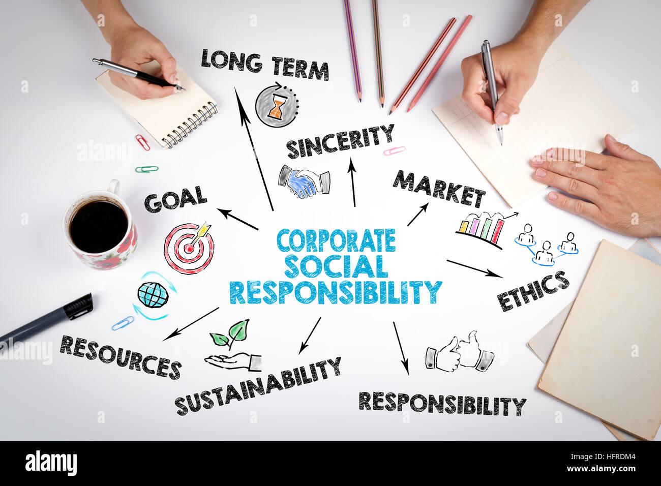 La responsabilità sociale delle imprese concetto. La riunione presso l ufficio bianco tavola. Immagini Stock
