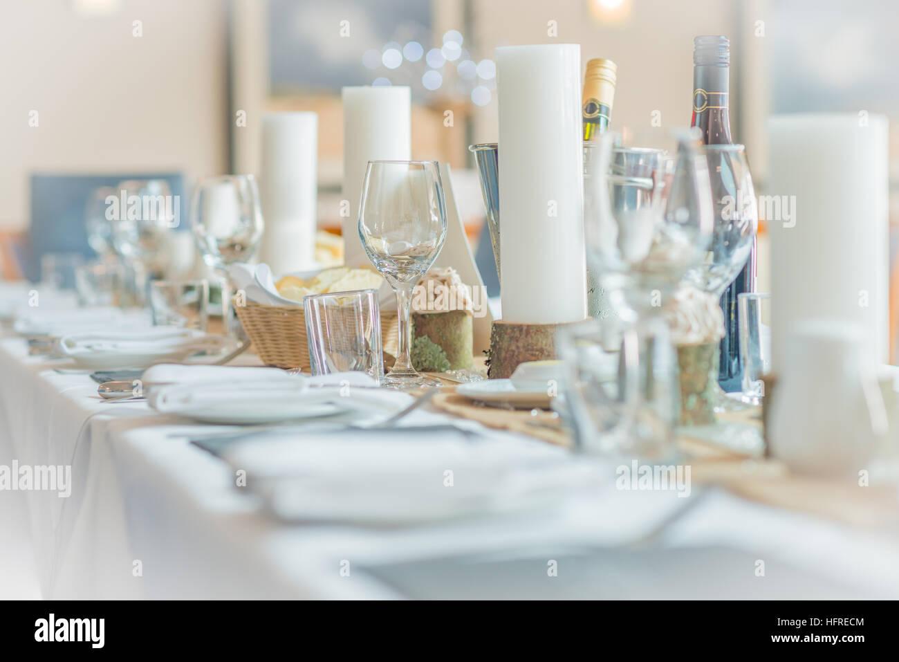 Tabella impostata per un matrimonio prima colazione Immagini Stock